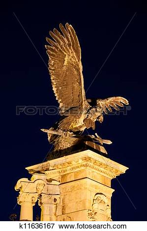 Picture of Turul Bird Statue at Night in Budapest k11636167.
