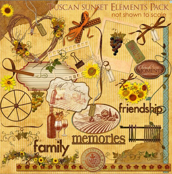 Tuscan Sunset Clip Art 44 Elements ~ Objects on Creative Market.