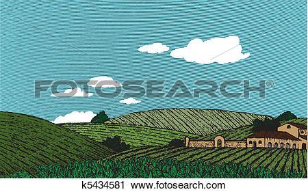 Clipart of Tuscan Landscape Scene Color k5434581.
