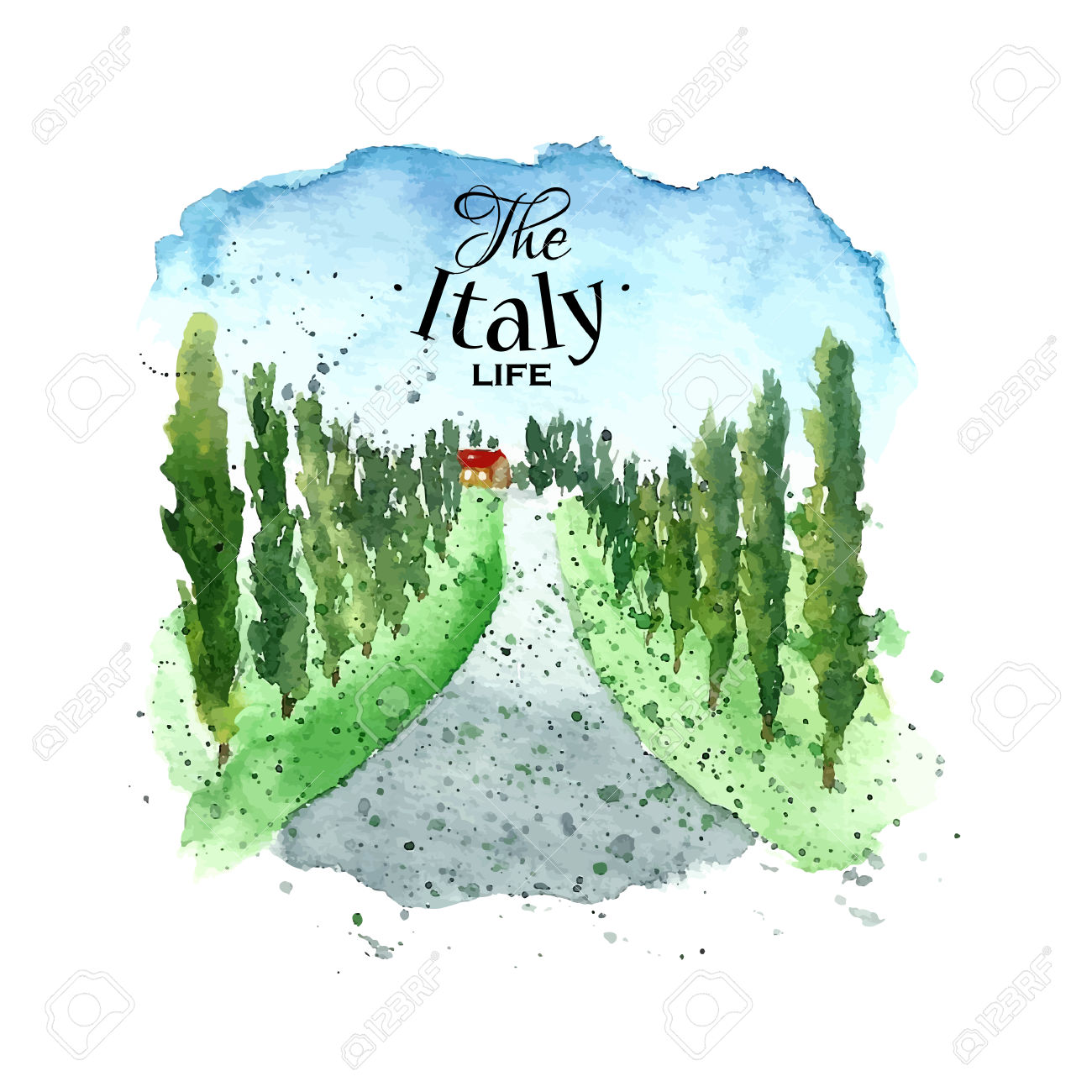 Watercolor Italy Tuscany. Hand Drawn Painting Landscape. Vector.