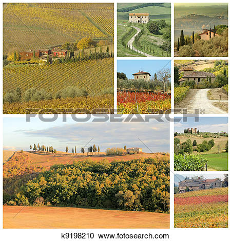 Stock Photography of tuscan landscape collage with country houses.