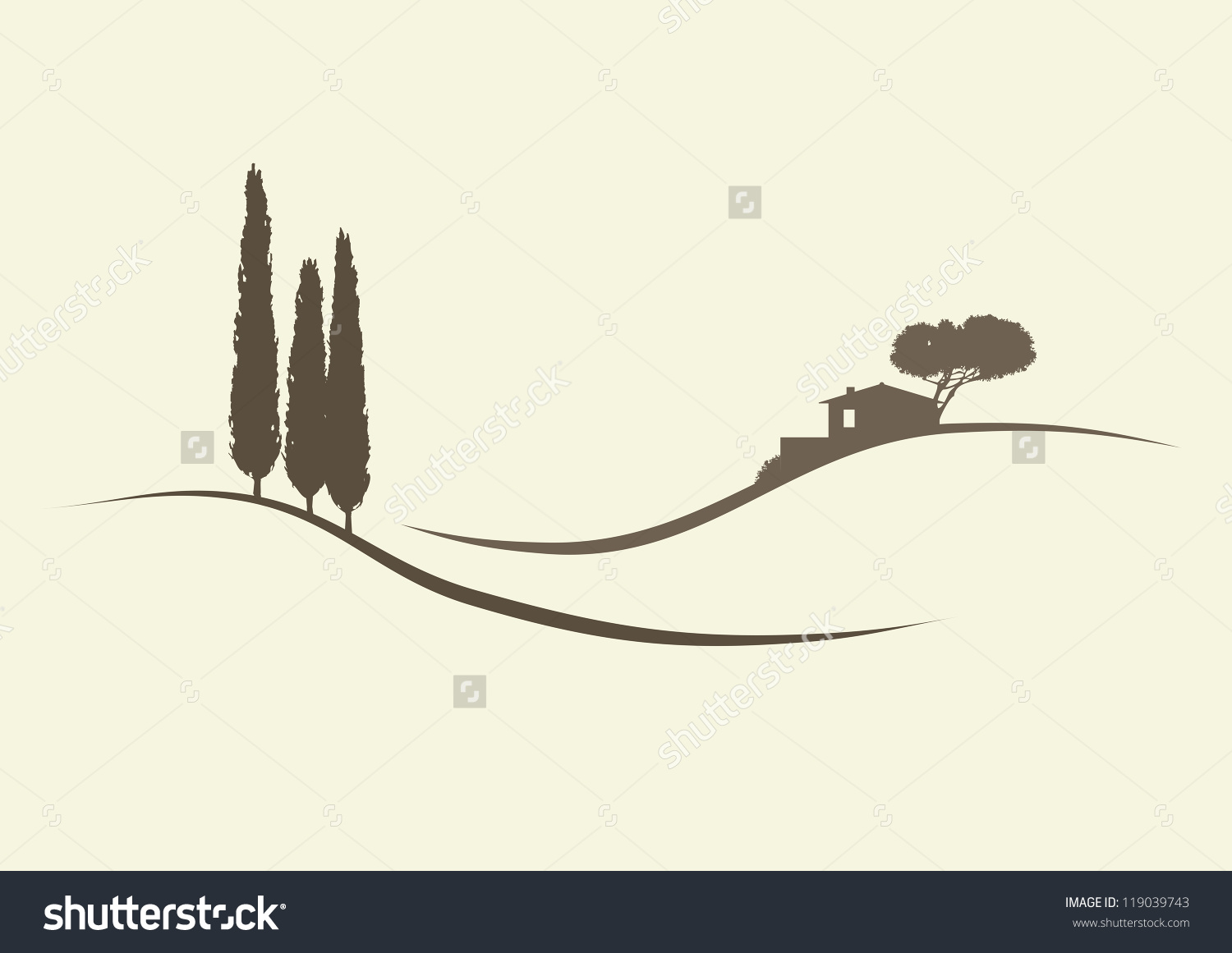 Tuscan cypress silhouette clipart.