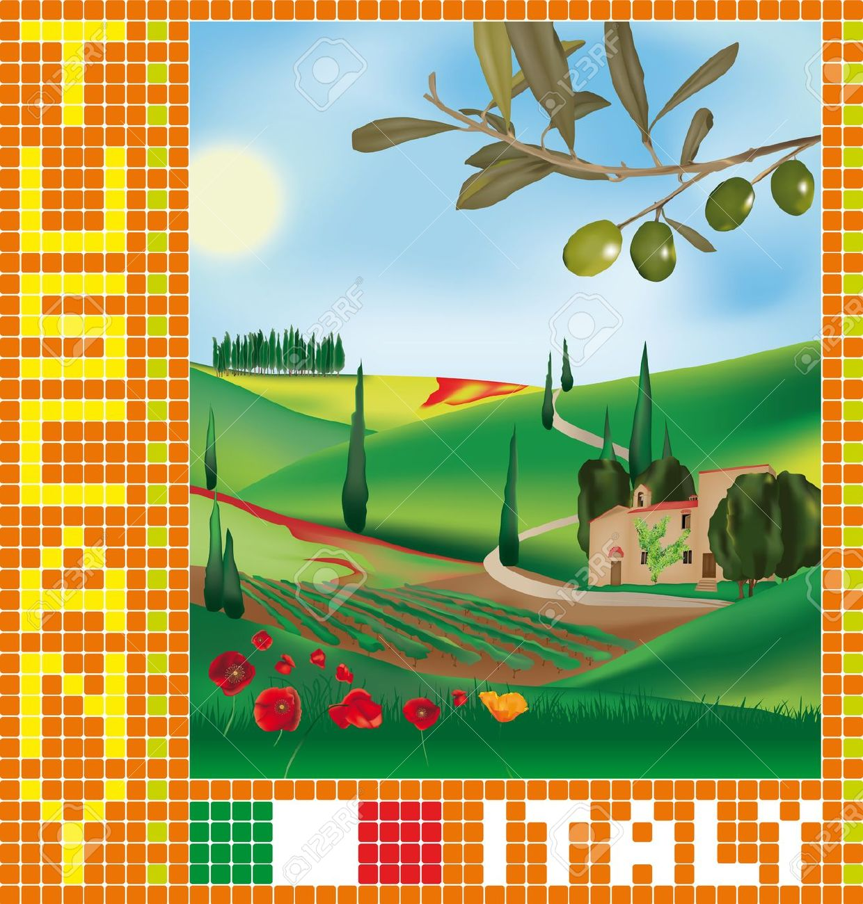 716 Tuscany Landscape Stock Vector Illustration And Royalty Free.