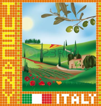 697 Tuscany Landscape Stock Vector Illustration And Royalty Free.