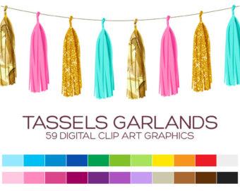 Tassel Garland Clipart / Gold Glitter, Baby Pink, Mint Green.