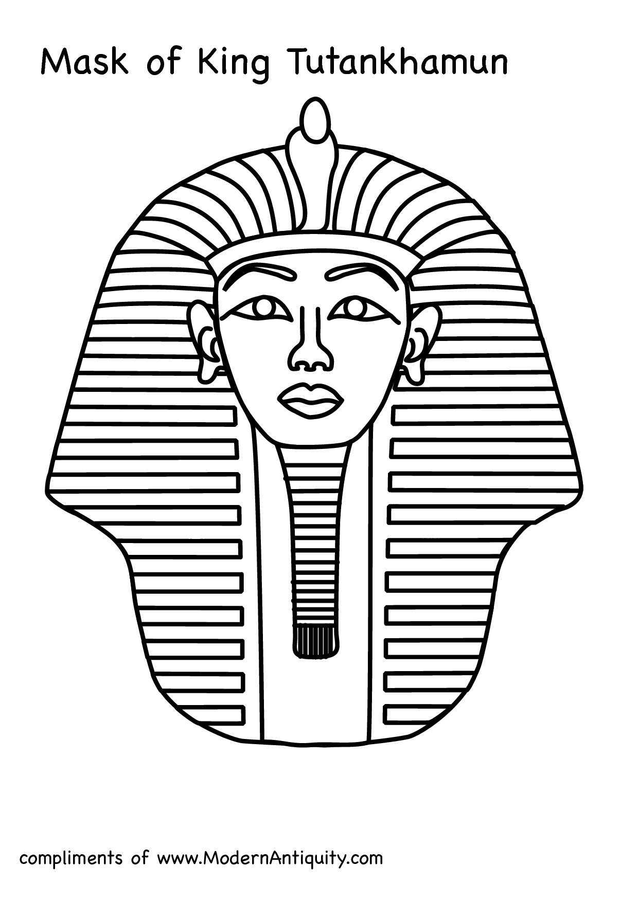 King Tut Coloring Page Outline coloring page, coloring image.