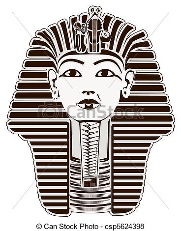 Stock Illustration of Tutankhamun Egyptian Pharaoh outline. Golden.