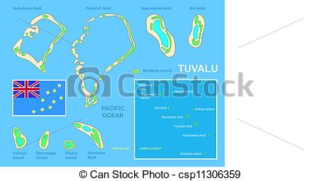 Clipart Vector of Tuvalu map and Flag.