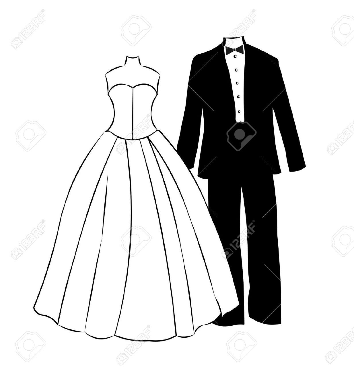 Wedding Dress And Tuxedo Clipart.