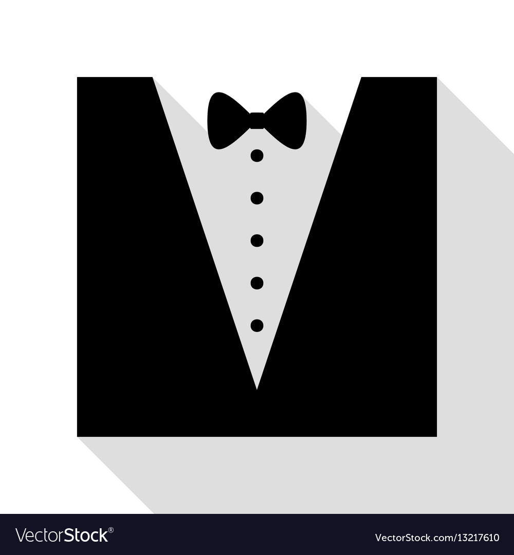 Tuxedo with bow silhouette black icon with flat.