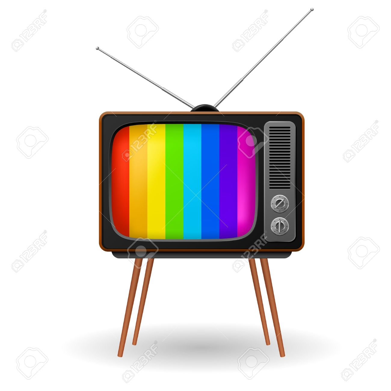 Retro TV With Color Frame. Illustration On White Background.