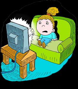 Clipart girl watching tv.