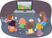 Watching Television Clip Art.