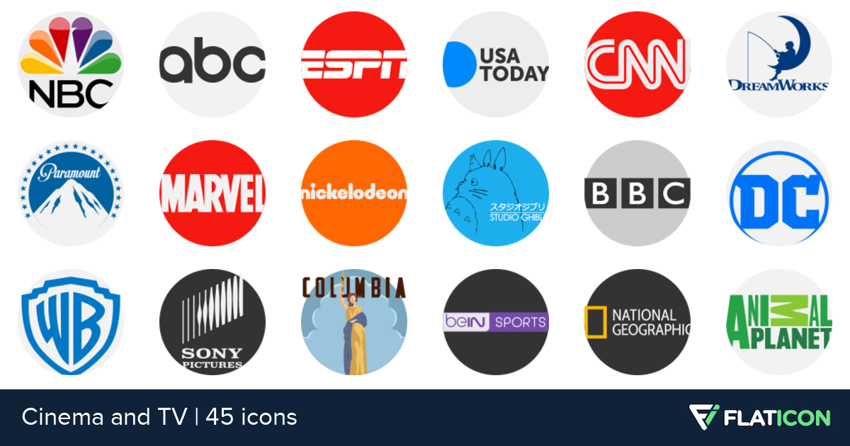Cinema and TV 45 free icons (SVG, EPS, PSD, PNG files).