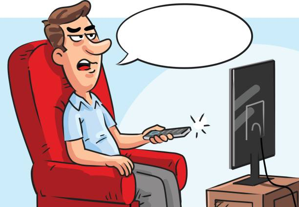 People Watching Television Drawings Clip Art, Vector Images.