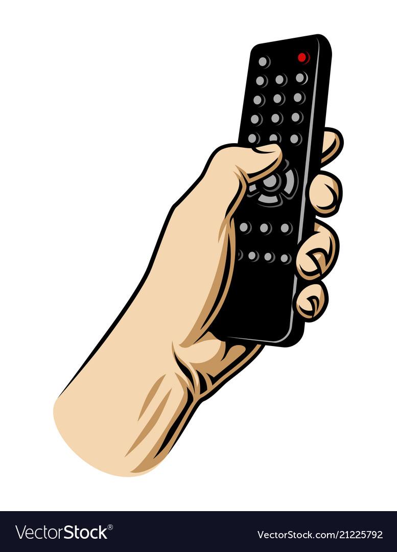 Male hand hoilding tv remote control.