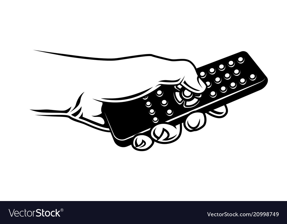 Hand holding tv remote control.
