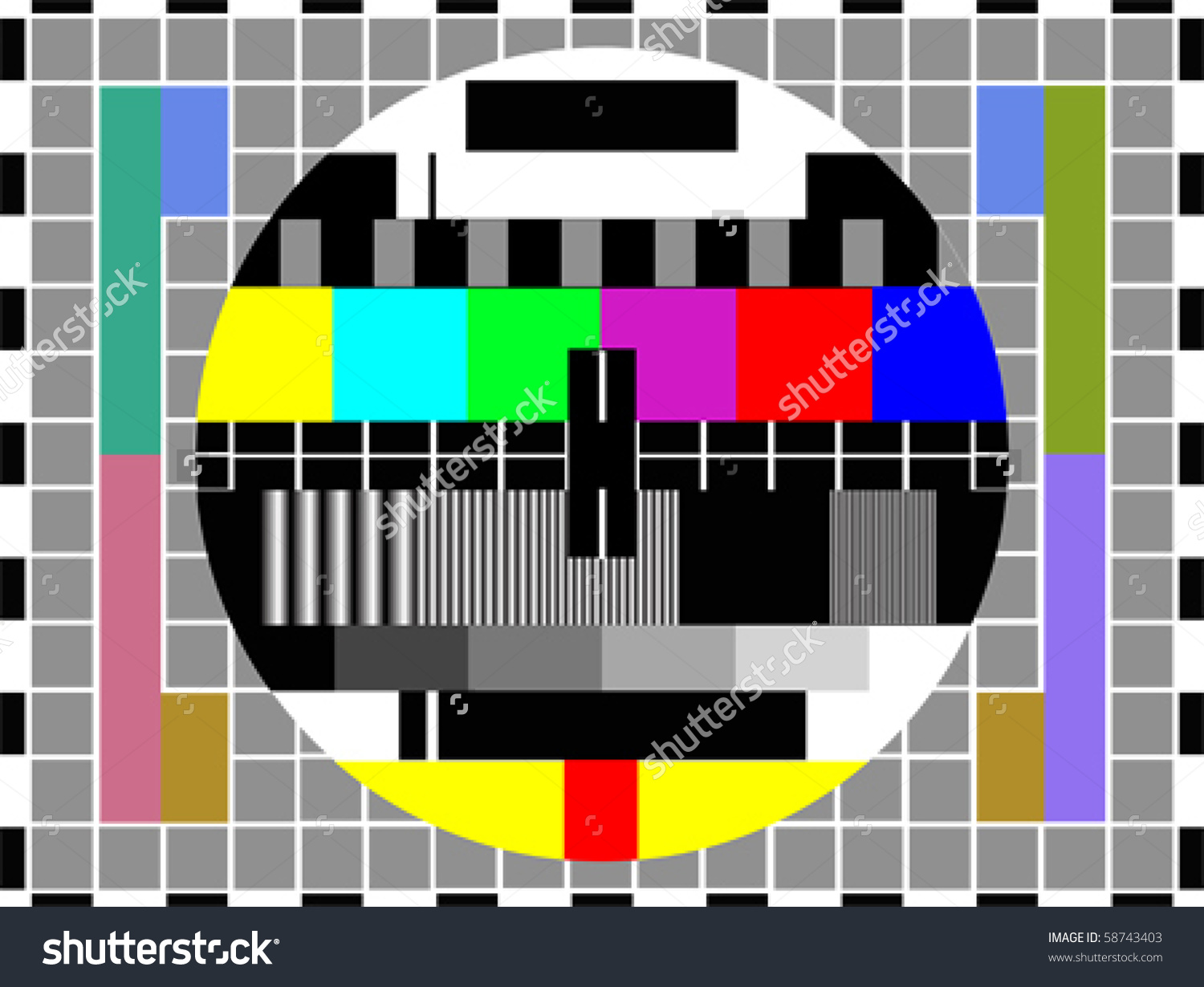 Tv Color Pattern Test Card Vector Stock Vector 58743403.
