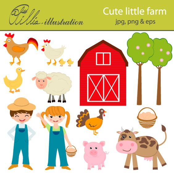 This adorable Cute little farm clipart set comes with 13 cliparts.