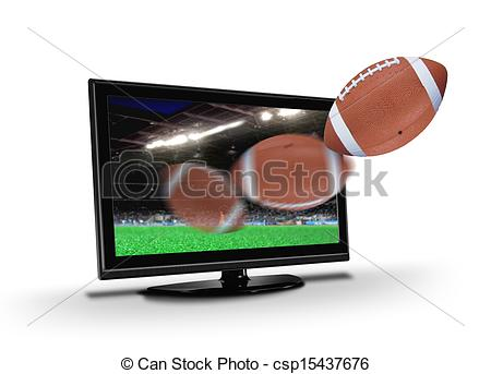 Stock Illustrations of Football flying out from TV screen.