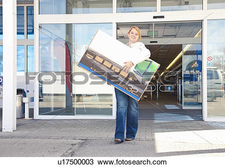 Stock Photo of Girl carrying new.