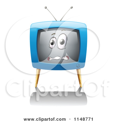 Cartoon of a Scared Tv Mascot Reaching out.