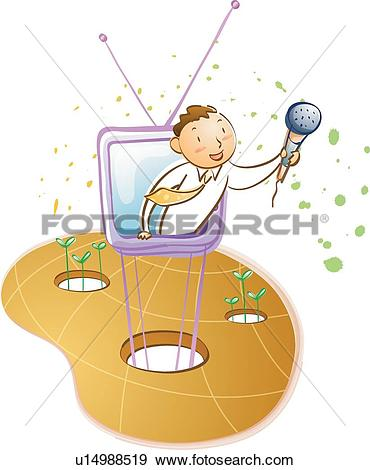 Stock Illustration of TV Announcer Coming out of a Television.