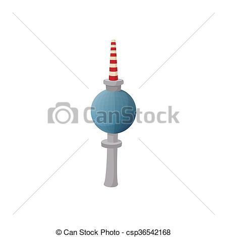 Stock Illustration of TV tower in Berlin icon, cartoon style.