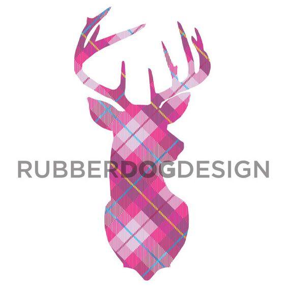 STAG / DEER / REINDEER Tartan Tweed Clip Art.