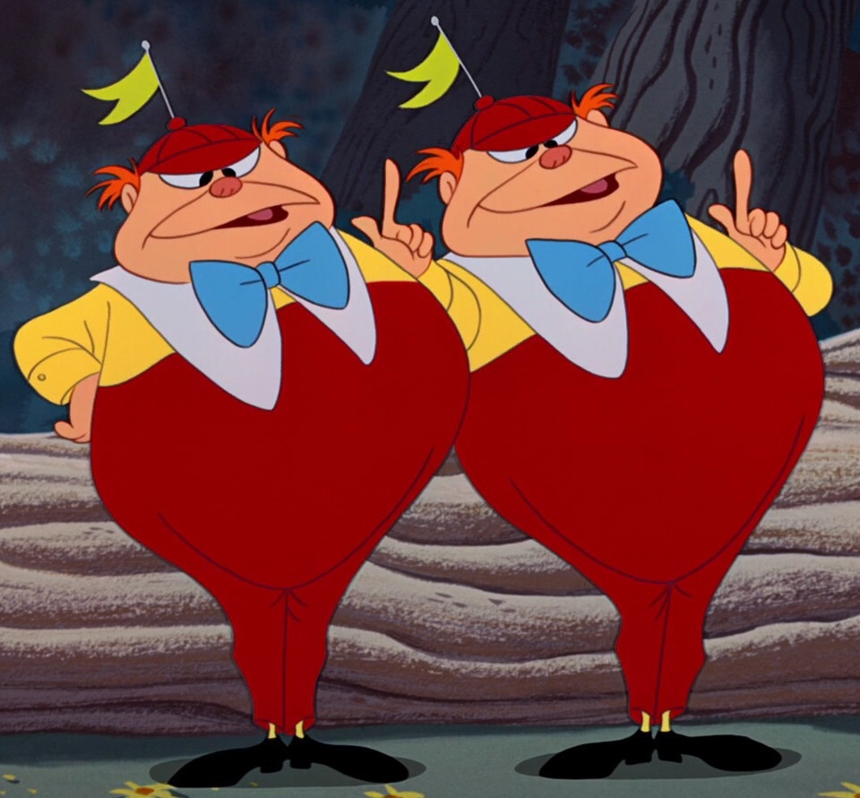 Tweedle Dee and Tweedle Dum.