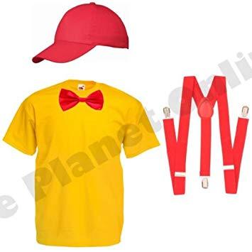 Childrens Kids Tweedle Dee Dum Alice in Wonderland Fancy Dress Costume Top  Cap Bow Tie Braces (3.