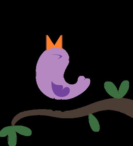 Happy tweeting purple bird vector graphics.