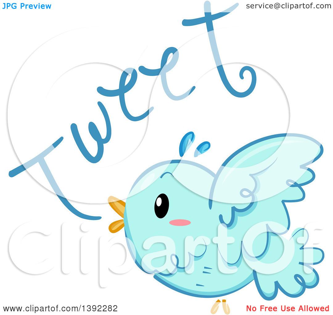 Clipart of a Blue Bird Tweeting.