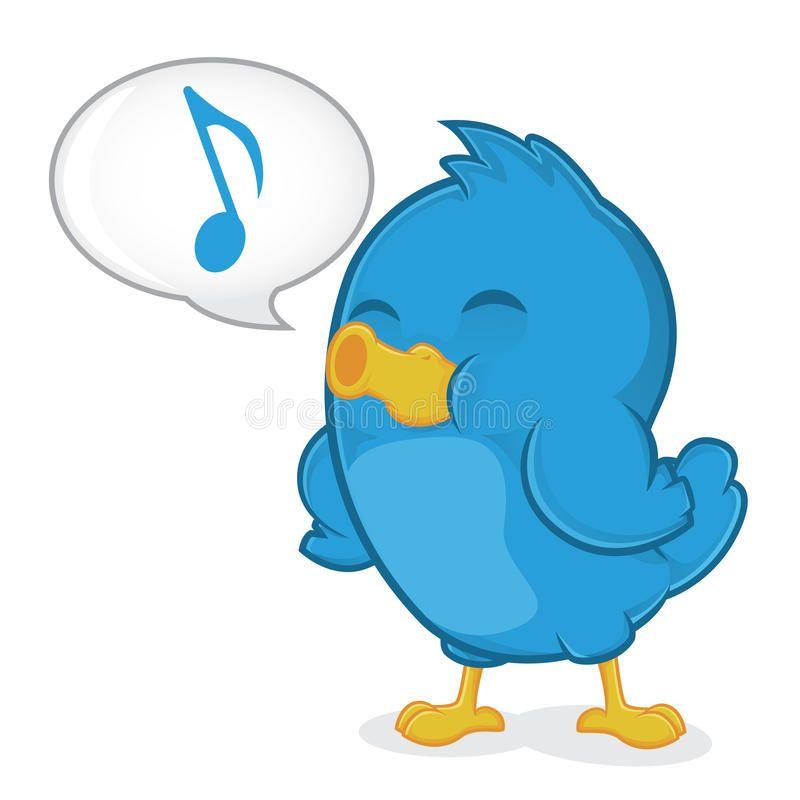 Blue Bird Singing. Clipart Picture of a Blue Bird Cartoon.