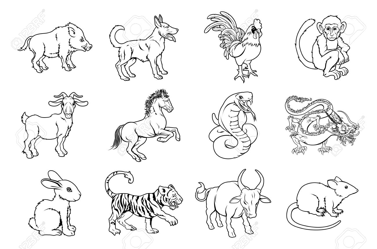 Chinese Zodiac Clipart Black And White.