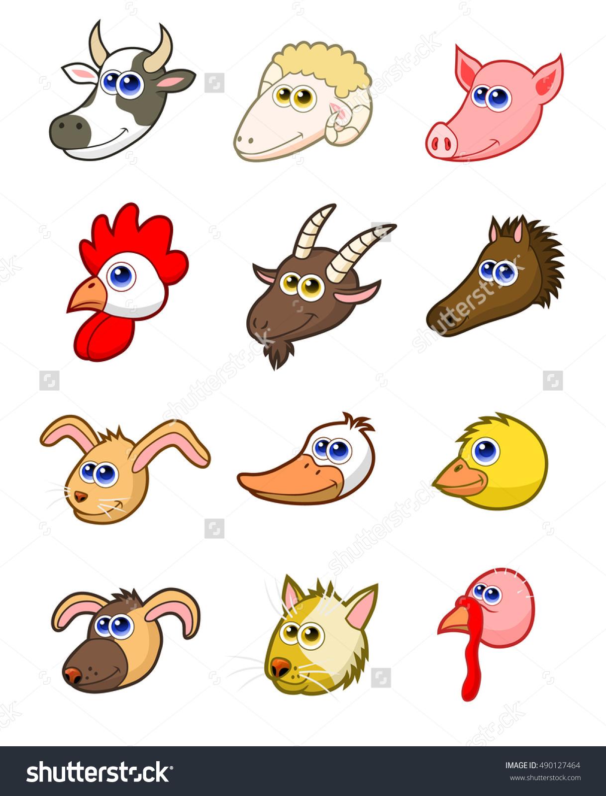 Twelve Cartoon Farm Animals Head Stock Vector 490127464.