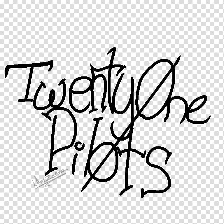 TWENTY ØNE PILØTS Drawing Logo Black and white, twenty one.