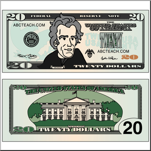 Clip Art: Twenty Dollar Bill Color I abcteach.com.