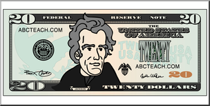 Clip Art: Twenty Dollar Bill Color Front I abcteach.com.