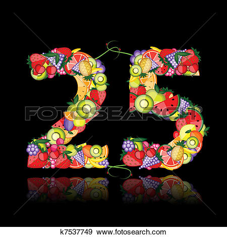 Clip Art of Number twenty five made from fruits. k7537749.