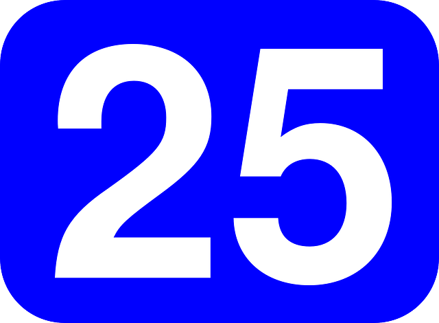 Number 25 cliparts.