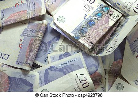 Pictures of Pile of twenty pound notes.