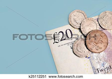 Stock Photography of Twenty pounds and pence coins isolated on.