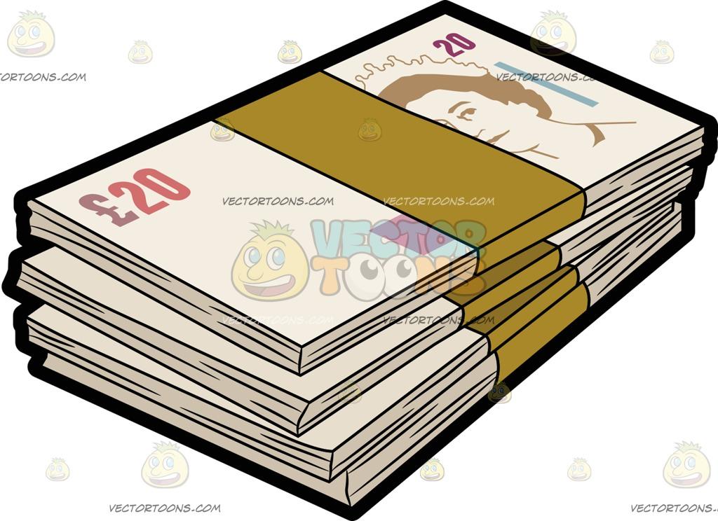 Bundles Of Twenty British Pound Bank Notes Cartoon Clipart.
