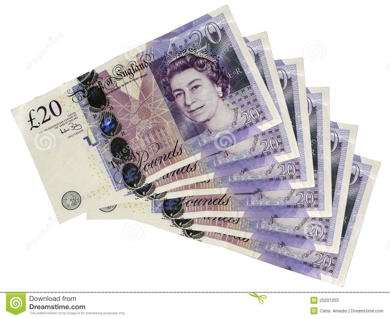 Twenty Pounds Stock Photo.