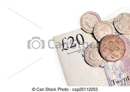 Stock Images of Twenty pounds and pence coins isolated on white.