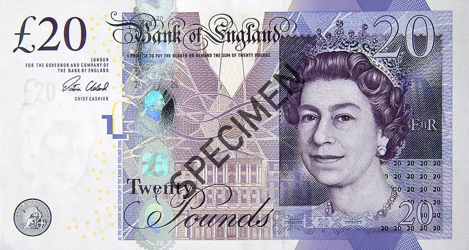Twenty Pounds Banknote, Pound Bill Png Free Clipart.