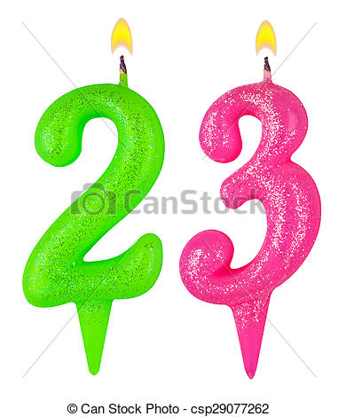 Stock Image of Birthday candles number twenty three isolated on.