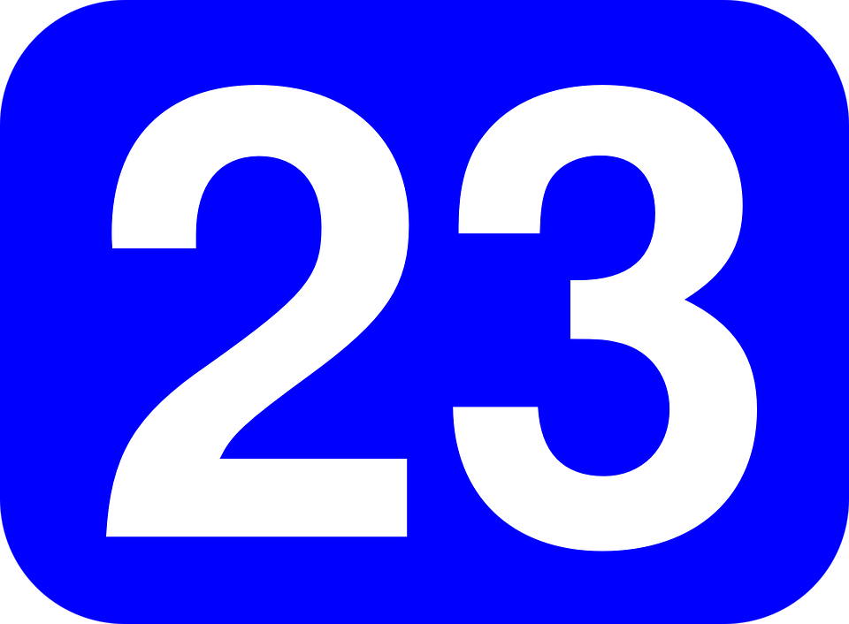 Free vector graphic: Number, 23, Twenty, Three, Blue.