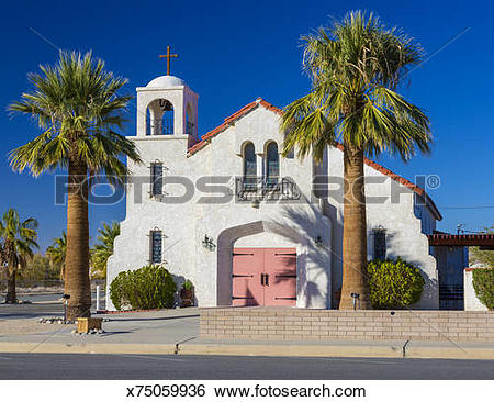 Stock Images of Catholic Church, Twentynine Palms, California.